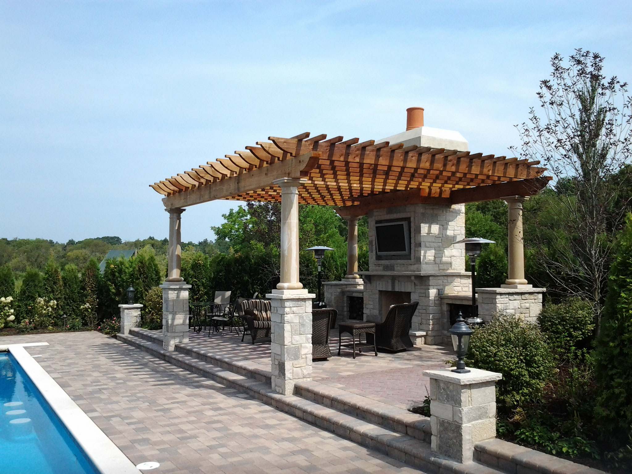 Patios grills pergolas the land shapers inc for Outdoor structures